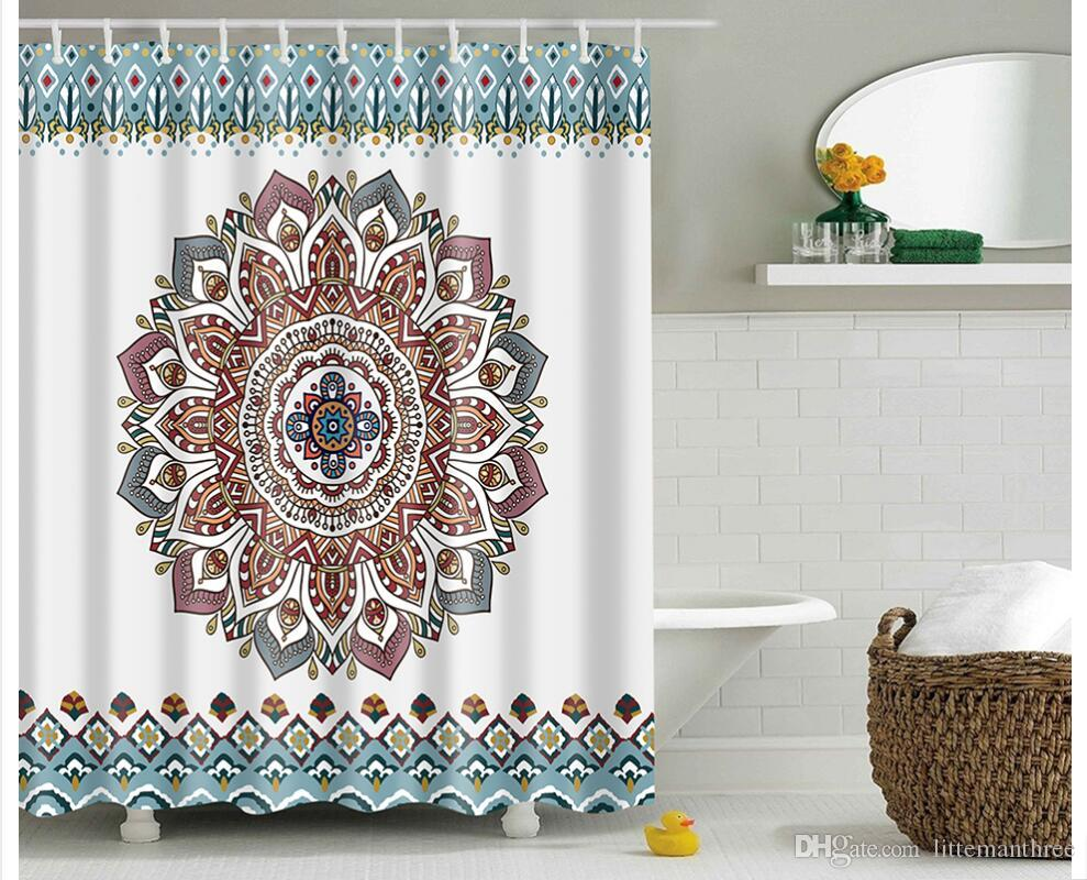 2018 Mandala Bohemian Waterproof Shower Curtain Hippie Boho Decorations Geometric Decor Polyester Bathroom Set 180x180 Cm From Littemanthree