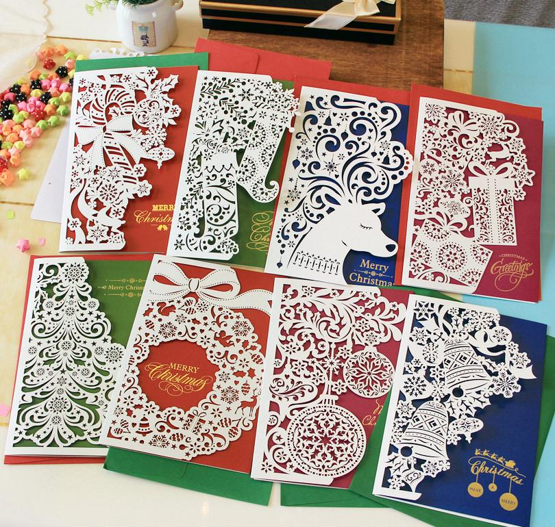 Paper cut christmas cards greeting three fold business for How to make folded christmas cards