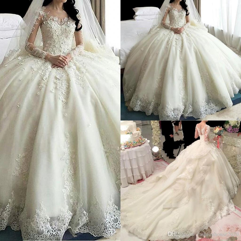 2018 New Luxury Ball Gown Lace Wedding Dresses With Cathedral Train Long Sleeves Flowers Ruffles Bridal Gowns Sexy See Through Back Vestido