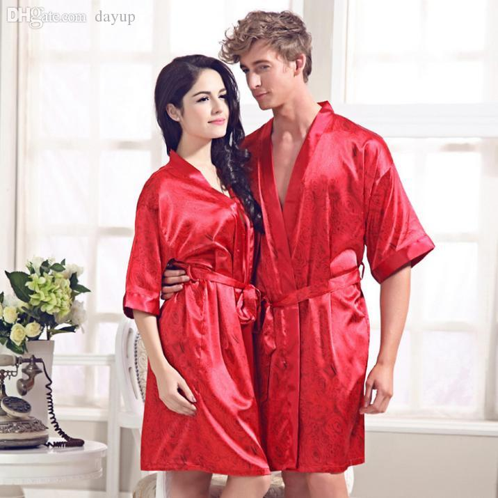 2018 Wholesale High Quality 100% Silk Robes Chinese Red Silk ...