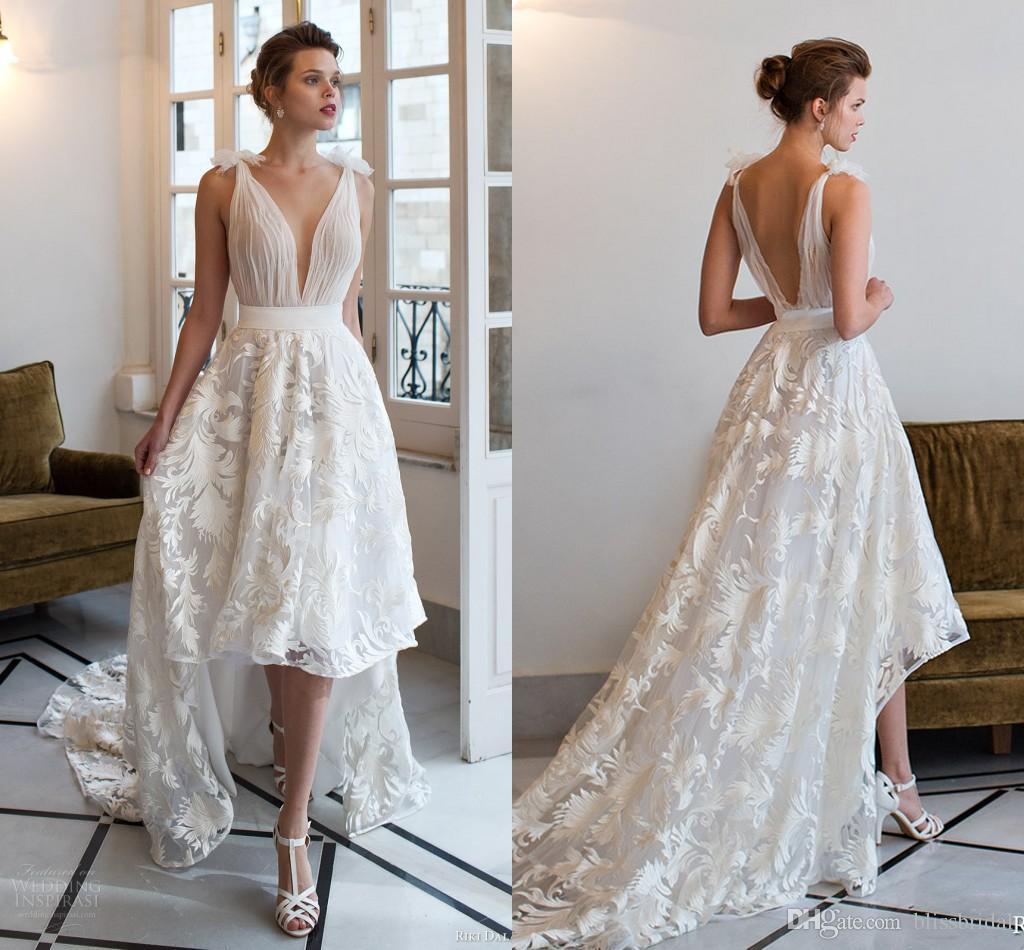 Deep V Neck Pleated Beach High Low Wedding Dresses Applqieus A Line Vintage Retro Open Back Sexy Bridal Dresses