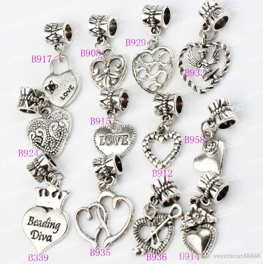 Angelo amore cuore fiore grande foro perline 120 pz / lotto argento tibetano braccialetti di fascino adatto gioielli fai da te B339-B958