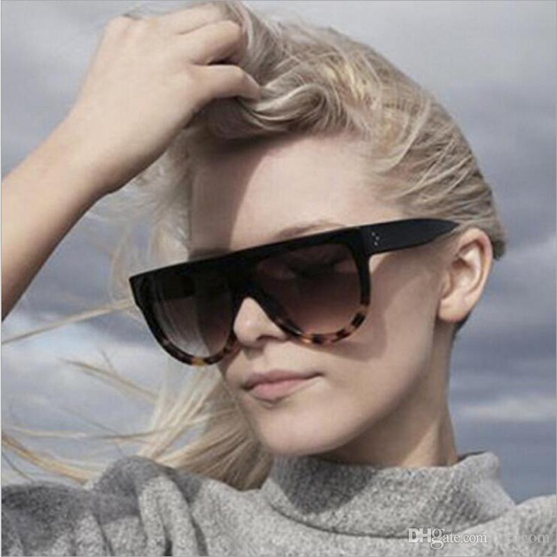a9a045df0b54 New Fashion Sunglasses Brand Designer Women Flat Top Vintage Sun ...