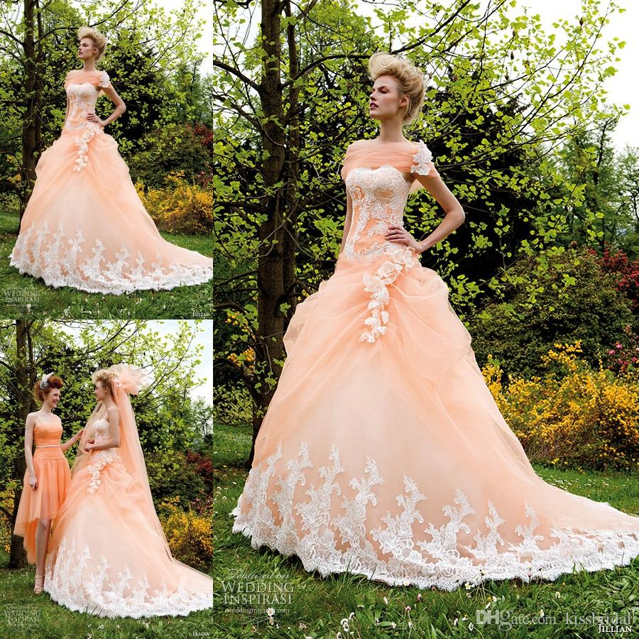Discount distinctive 2015 peach a line wedding dresses with discount distinctive 2015 peach a line wedding dresses with sweetheart corset bodice ruffled organza court train lace appliques trimed bridal gowns a line junglespirit