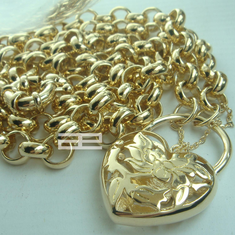18CT 18K riempito il lucchetto della catena del cuore Belcher Bullone Anello collana Solido N188