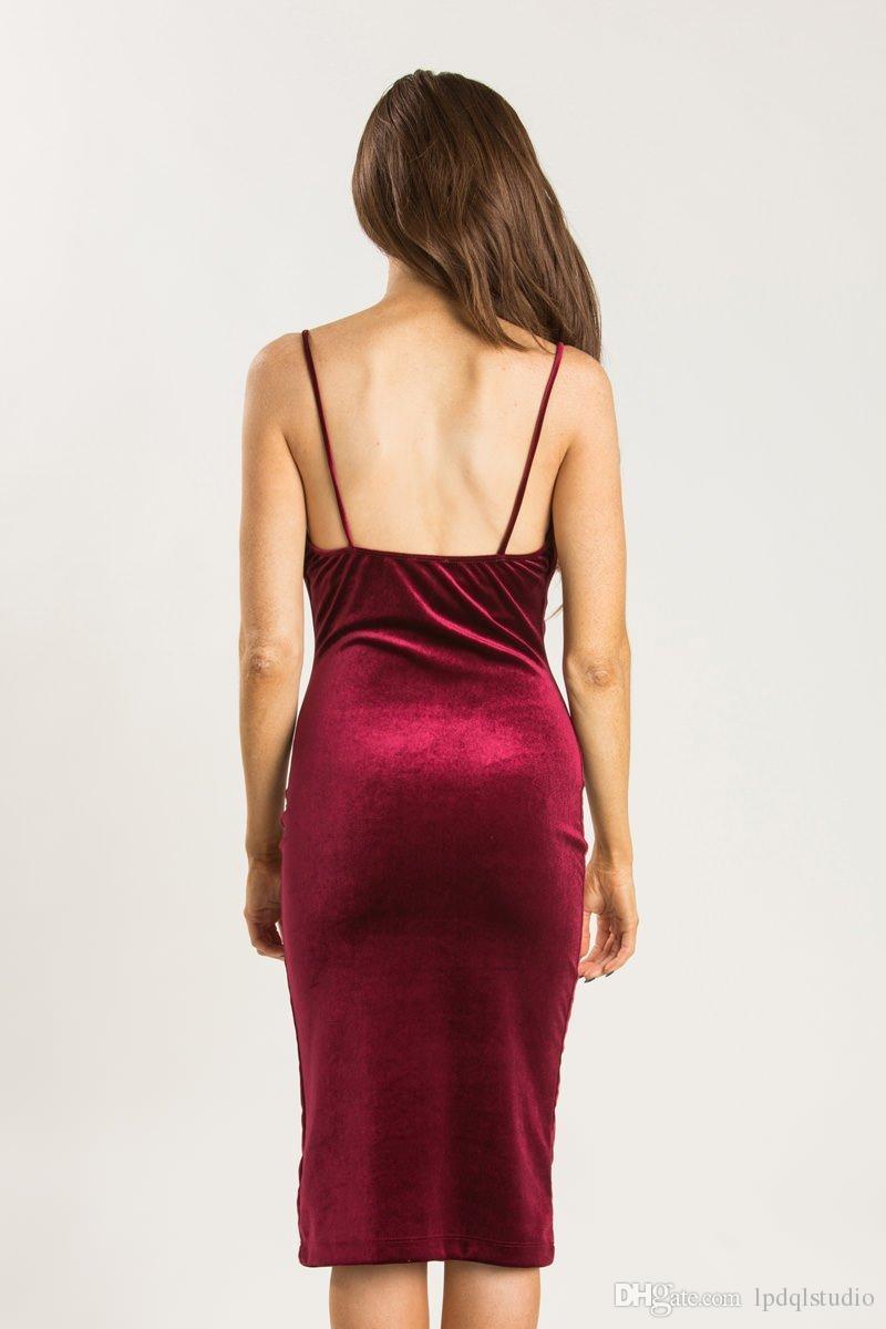 Sexy Burgundy Cocktail Dresses Velvet Summer Spaghetti Knee Length Party Dresses Black Cheap