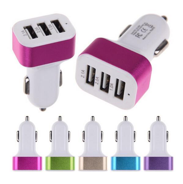 5V 5.2A 5000mah 3 chargeur de voiture de port USB pour téléphone portable universel pad de tablette de téléphone portable certifié par RoHS CE et FCC
