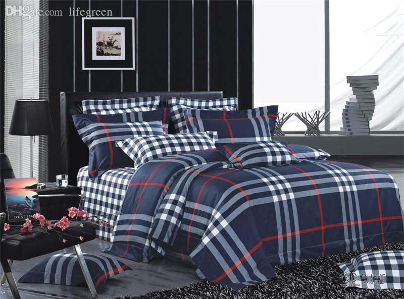 Wholesale Simple Style Fashionable Men'S 100% Cotton High Quality Luxury Checks Bedding Set