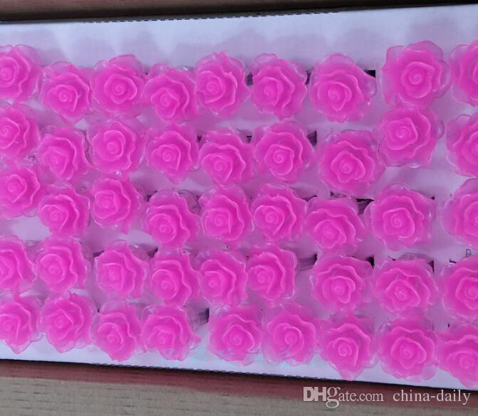Freies schiff 50 stücke führte beleuchtung blinkende weiche rose blume blase elastische ring rave party blinzeln weiche fingerlichter