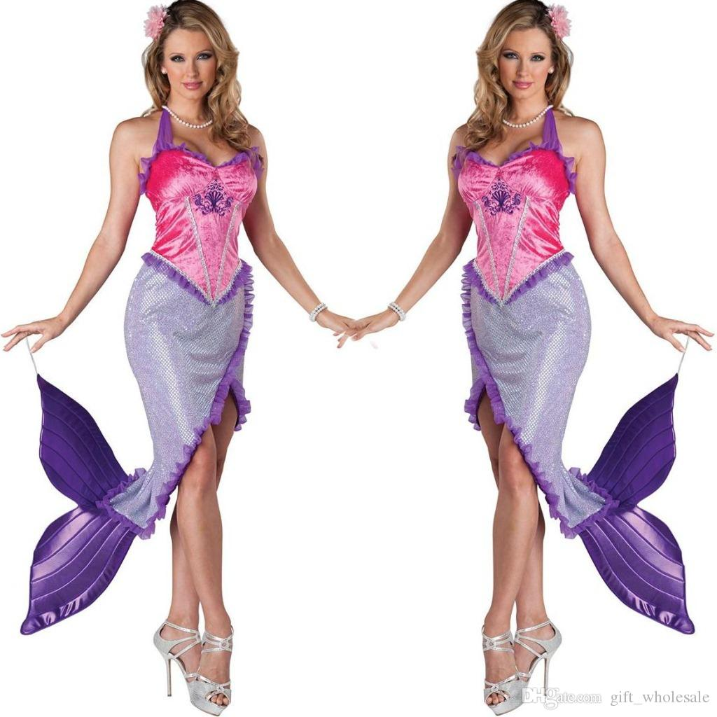 The New Sexy Caribbean Mermaid Cosplay take the Princess Costume Party Outfit Game Clothes 2015 2016 Including Head Flower