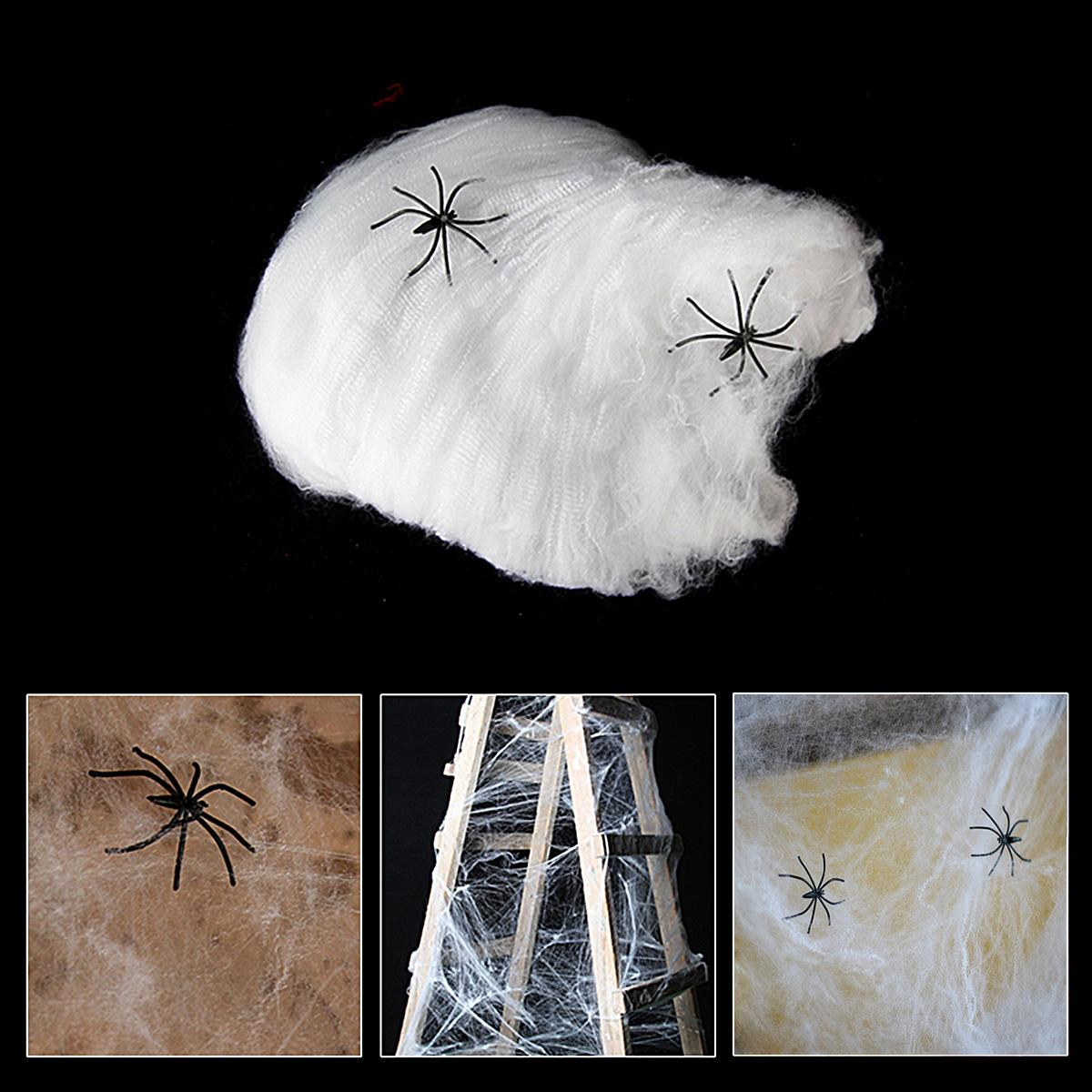 2 packs stretchable spider web with 2 spiders for halloween decorations props