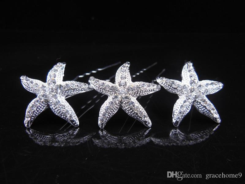 Bridal Wedding Hair Pins and Clips Rhinstone U Style Stick Women Hairpiece Starfish Hair Accessories Jewelry Prom Fashion Long Hair Decerate