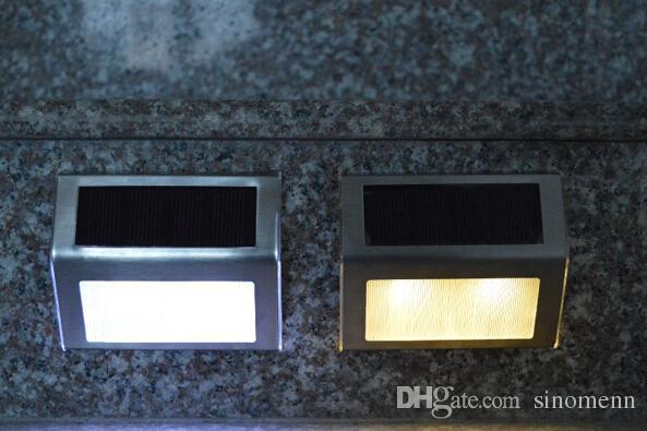 Energía solar al aire libre 2 LED Luz Escalera Camino Pared Jardín Jardín Lámpara Acero inoxidable Camino Paso Escaleras Iluminación del piso