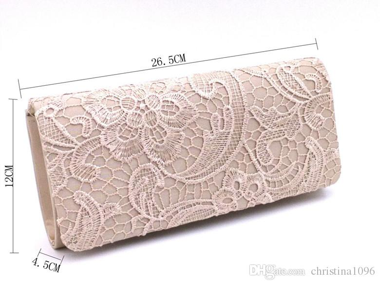 Fashion evening bags clutches for women satin material evening bag elegant lace ladies wedding bag shoulder bags