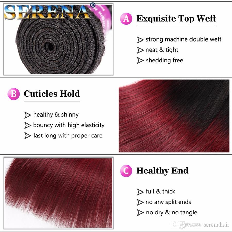 1b 99J Brazilian Virgin Hair Straight With Closure 1b Burgundy Ombre Hair With Closure Wine Red Hair Bundles With Silk Closures