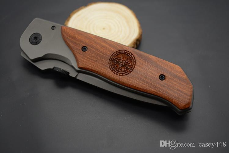 Yüksek kaliteli! Browning DA30 Katlama Bıçak Titanyum Yüzey Ahşap Av Kamp 330 Mücadele Bıçağı Kulp kakmalı