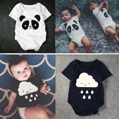 100% хлопок Baby Romper новый летний корейский baby panda капли дождя торговли треугольник комбинезон Комбинезон с короткими рукавами onesie