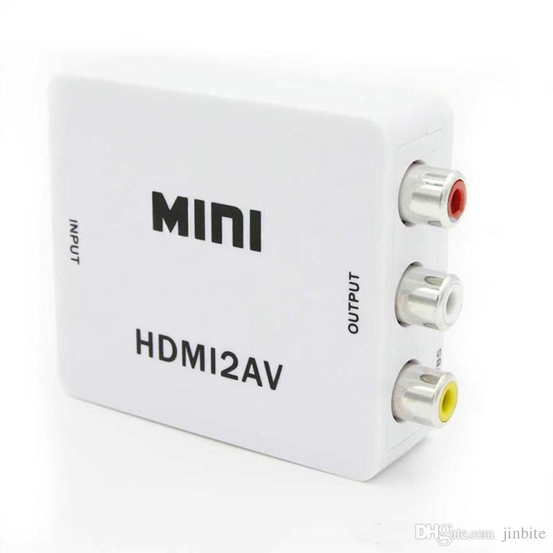 HDMI2AV Adaptateur vidéo HD 1080P mini HDMI vers AV Convertisseur CVBS + L / R HDMI vers RCA Pour Xbox 360 PS360 Avec emballage de vente OM-CD8