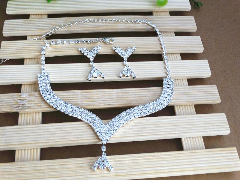 Shiny Crystal Wedding Jewelry Bridal Necklace And Earrings Luxury Wedding Jewelry Sets For Bridal Dresses
