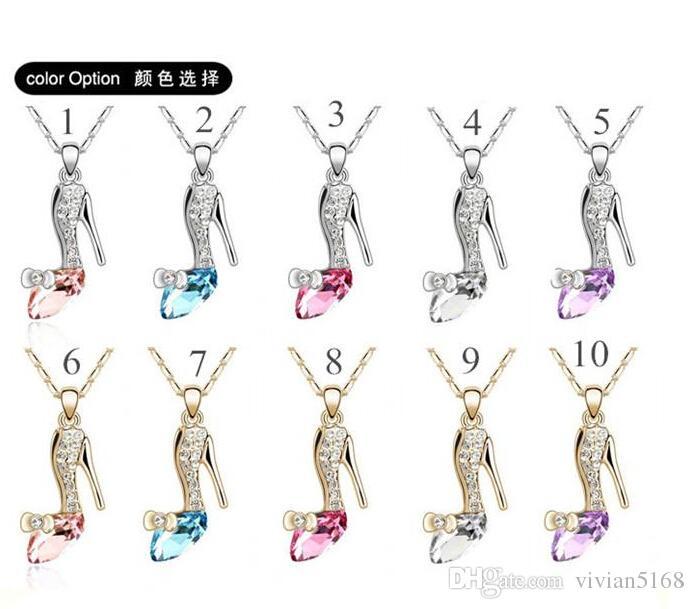 Nouveau Cartoon Movie figure de cendrillon pendentif colliers en cristal de chaussures de chaînes d'Autriche collier en cristal de collier de bijoux pour girs Femmes cadeau