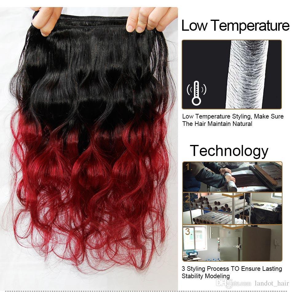 Ombre brasilianisches Jungfrau-Haar spinnt zwei Ton 1B / 99J Burgunder-Wein-rote peruanische malaysische indische kambodschanische Körper-Wellen-Menschenhaar-Erweiterungen