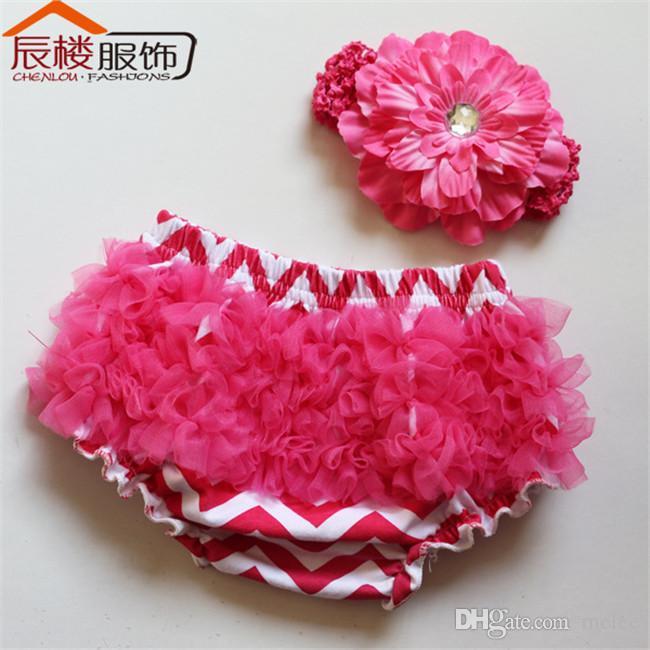 Meninas Chevron Ruffles pp calças onduladas bloomers + flores peônia Headband set cueca criança roupa briefs verão calções 9 conjunto