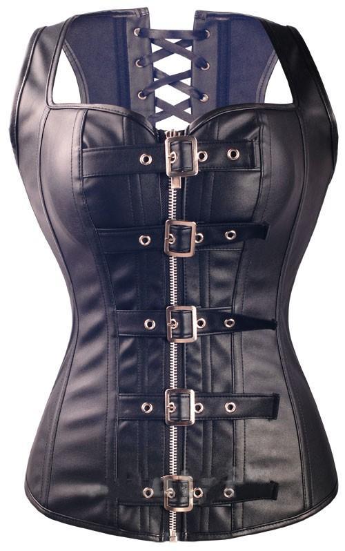 مشد جلد أسود مع الكورسيهات سستة و bustiers المرأة فو الجلود Overbust مشبك زائد حجم مشد سلسلة Steampunk القوطية