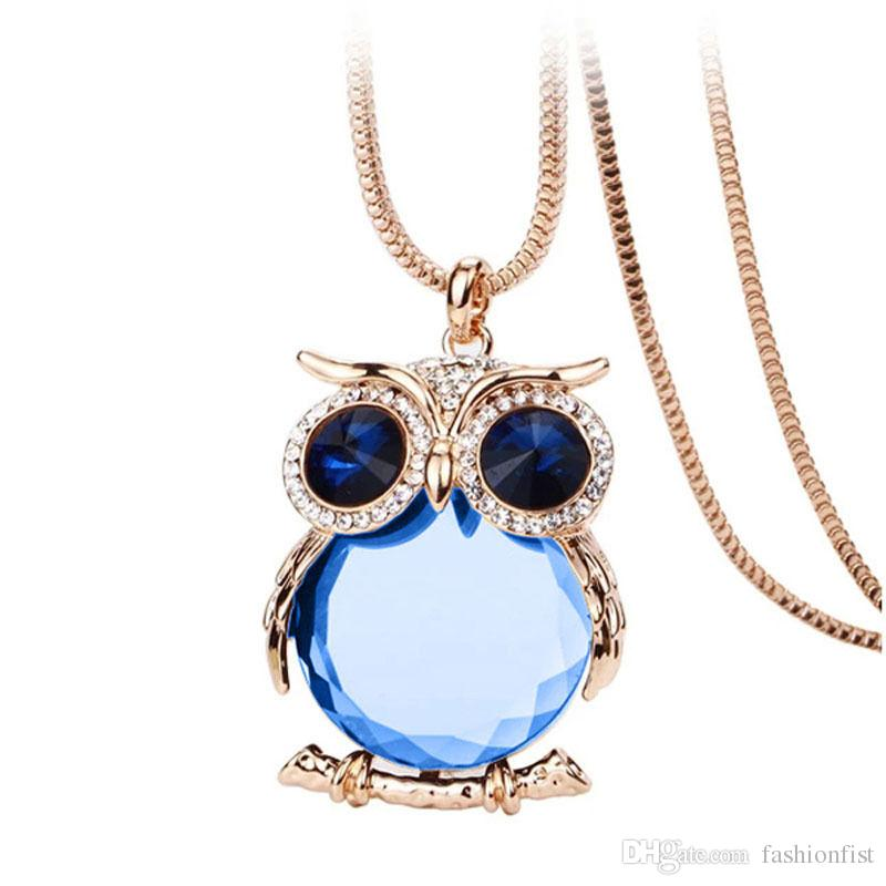 Women Owl Rhinestone Crystal Pendant Necklace Animal Long Sweater Chain Necklaces Jewelry