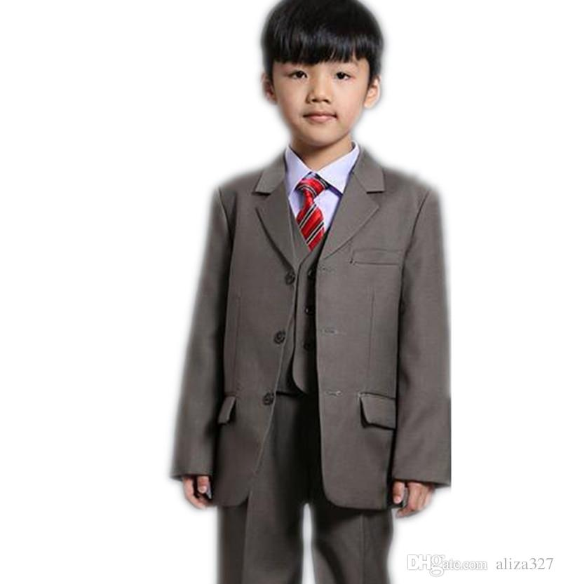 Cute boys suits three piece suit two buttons formal wedding party children suits birthday party formal wear jacket+pants+vest
