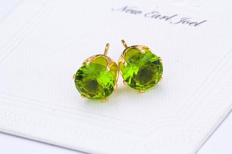 Saplama Küpe Toptan Moda Yuvarlak Favori Tasarım 18 K Altın Kaplama Çivili Şeker Kristaller Kadınlar Için CZ Elmas Saplama Küpe