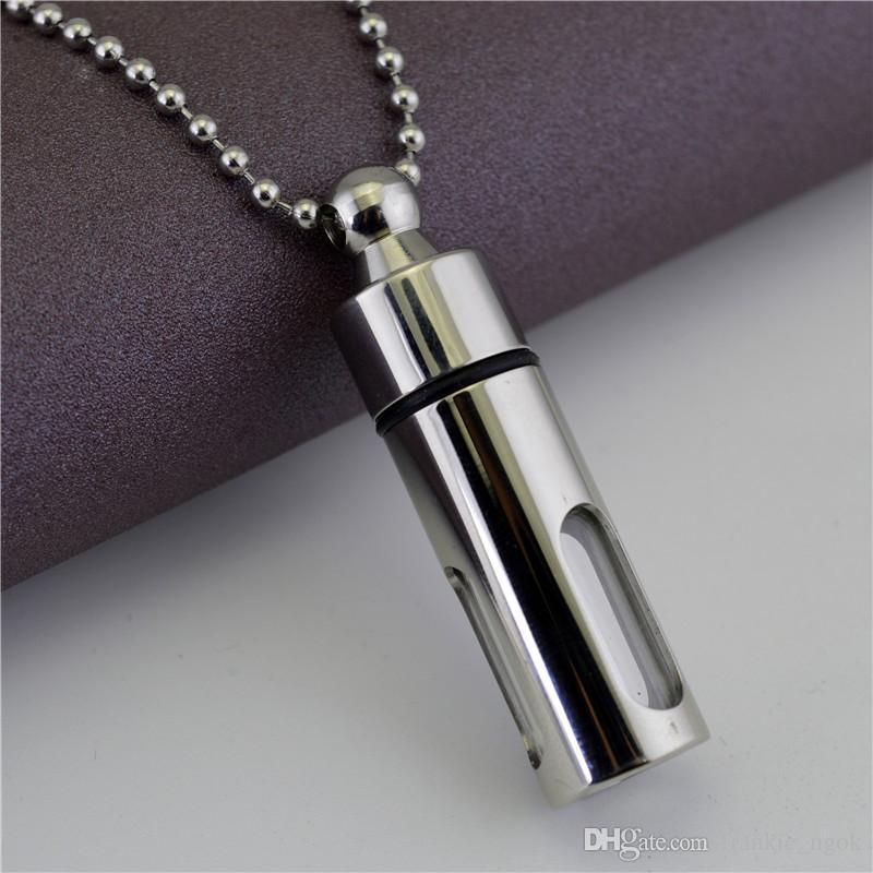 Garrafa de armazenamento de titânio Frascos de perfume aberta Garrafas Lockets Pingentes Cresco Urna Colar de vidro Cilindro Amantes Jóias para Homens Mulheres Casais Keepsake presentes