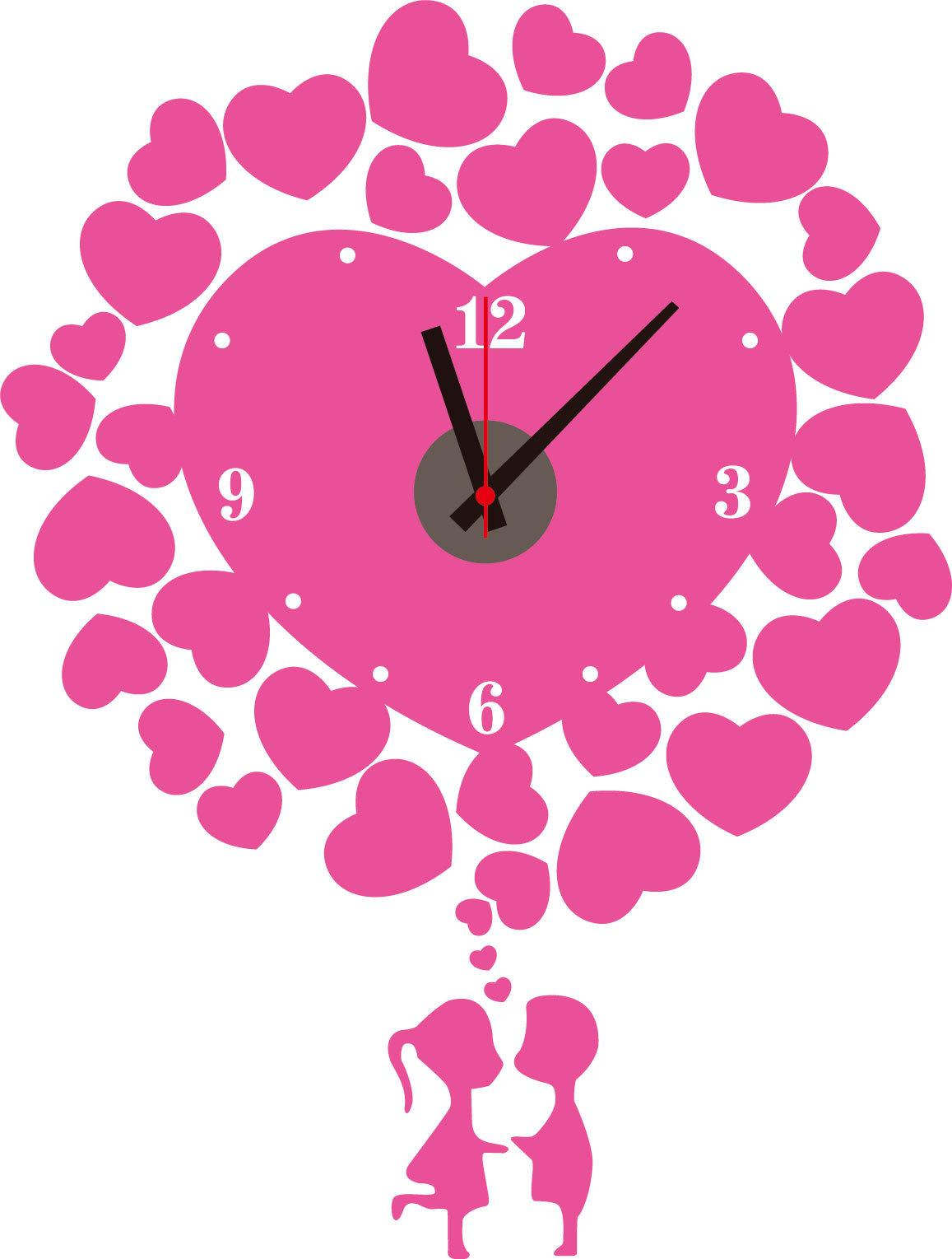 Pvc pink heart decorative wall clock sticker home decoration wall see larger image amipublicfo Image collections