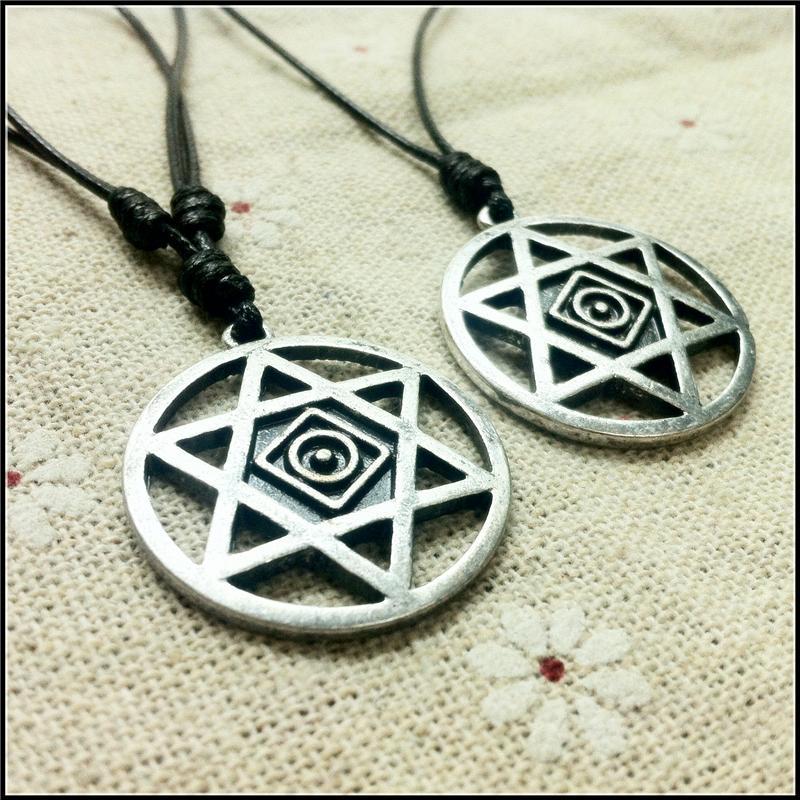 Vintage Hexagram of Solomon Amuleto colgante Encanto antiguo Anillo de plata Hexagram reducido Collar mágico Wiccan Symbol Ahogador amuleto regalo 1606