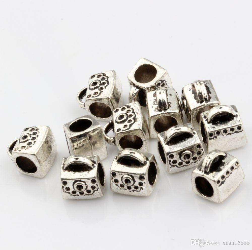 MIC Antique silver Package Spacers Big Hole Beads for Charm Bracelets ilia & Biagi Bracelet 9*10mm
