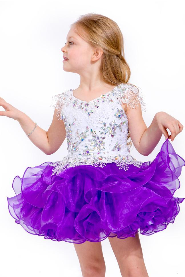 2015 Amazing Purple Crystal Jewel Organza Cupcake Girls Pageant Dresses Toddler Birthday Party Dresses Above Knee Prom Dresses