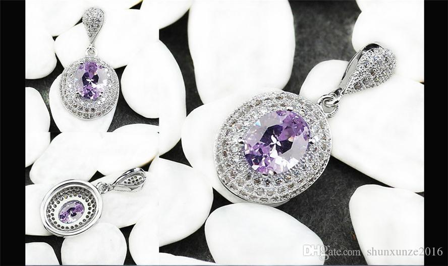 The new listing Recommend Noble Generous MN3182 Best Sellers Light purple Cubic Zirconia Romantic Copper Rhodium Plated Fashion Pendants