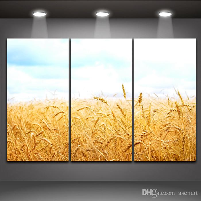 Lake Fiying Bird Landscape Summer Beach Wheat Harvest 3 Panels Modern Wall Oil Painting Printed On Canvas For Bedroom Home Decoration