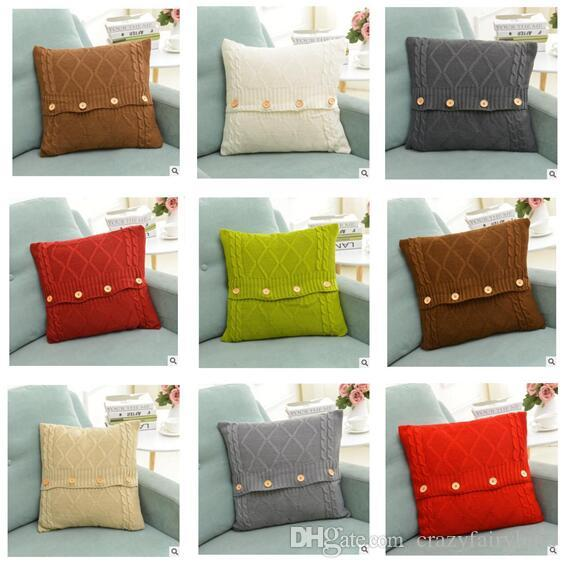Pillow Cover Button Knitted Twist Patter Decorative Cable Knitting