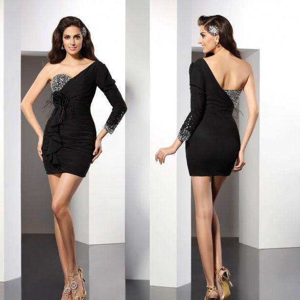 Long Sleeve Cocktail Dresses Mini Short Black Elastic Lycra Beaded ...