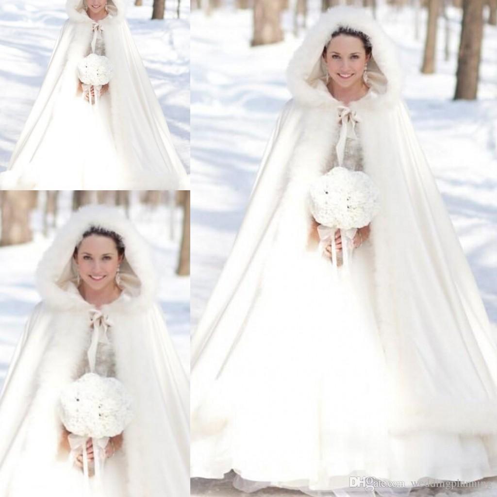 2017 Bridal Cloak Okładki Kurtki Zima Cape Faux Wedding Płaszcz Garnitur Z Kapturem Cold Pogoda Ślubni Cloaks Abaya Tanie W magazynie Wrap Kurtka 2014