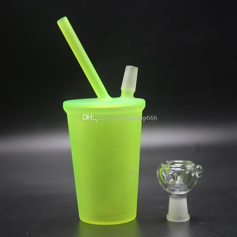 Starbucks Cup Glass Bongs 14.4mm 18.8mm Sandblasted Glass Pipes For Smoking Oil Rigs Glass Water Bongs Nail Rigs Oil Dab