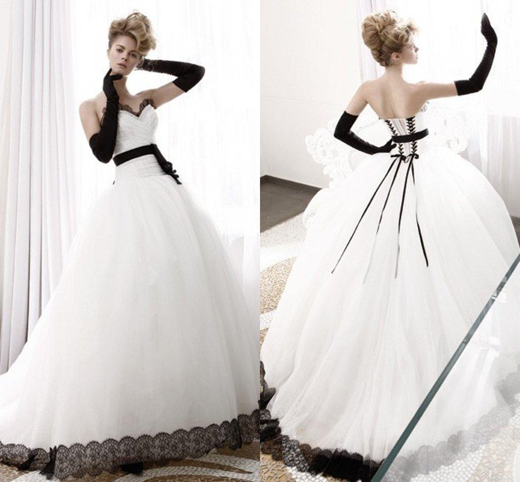 Gothic Ball Gown Wedding Dresses 2015 Vintage Lace Black And White ...