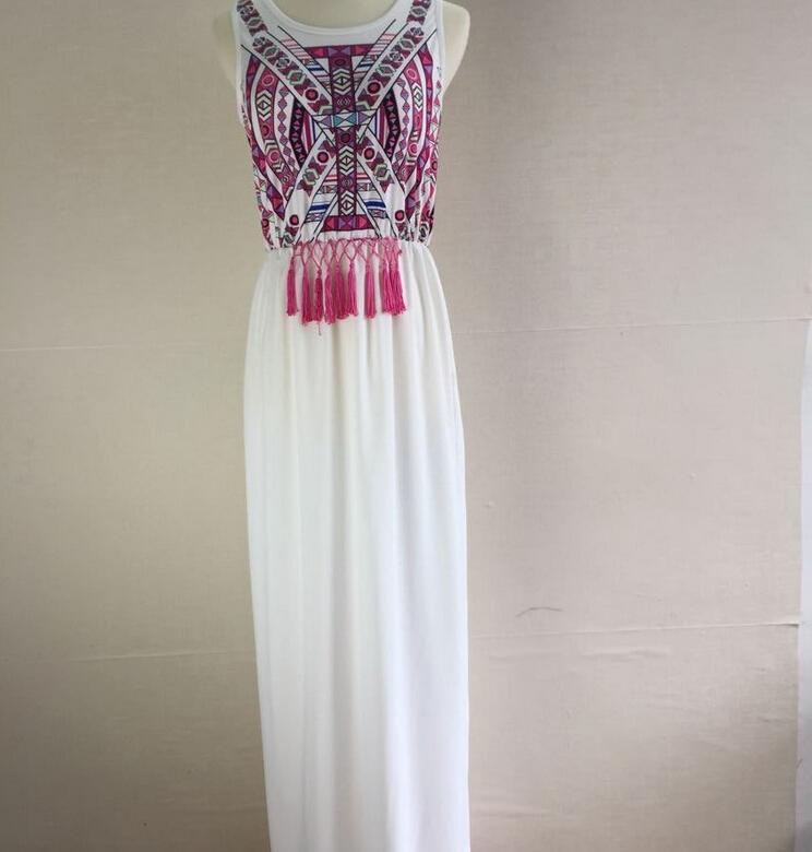 New 2016 Women Clothes Summer Boho Maxi Dress Round Neck Totem Print Woman Ladies Long Dresses Chiffon Sleeveless Casual Dresses for Womens