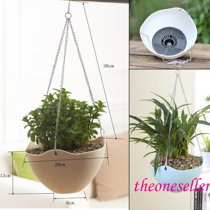 Hanging Baskets Plastic Hanging Planter Bonsai Spider Plant Colorful With Chains Flying Flowerpot Flower Pot