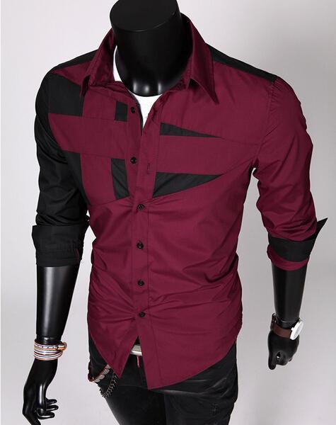Nowy Męskie Moda Bawełna Designer Cross Line Split Staw Slim Fit Dress Man Shirts Topy Western Casual 5 Kolor M-3XL C01