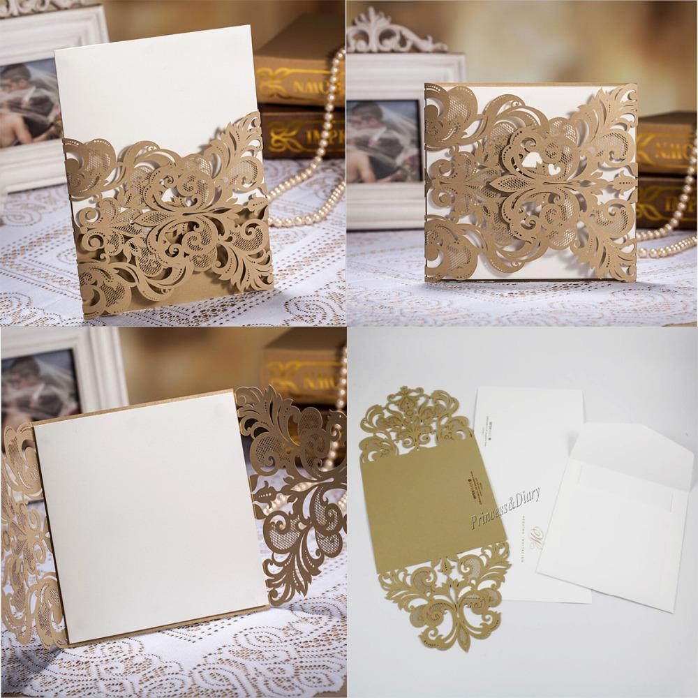 High class wedding invitation card laser cut flower gold high class wedding invitation card laser cut flower gold personalized wedding party supplies inexpensive wedding invitations make your own invitations from stopboris Gallery