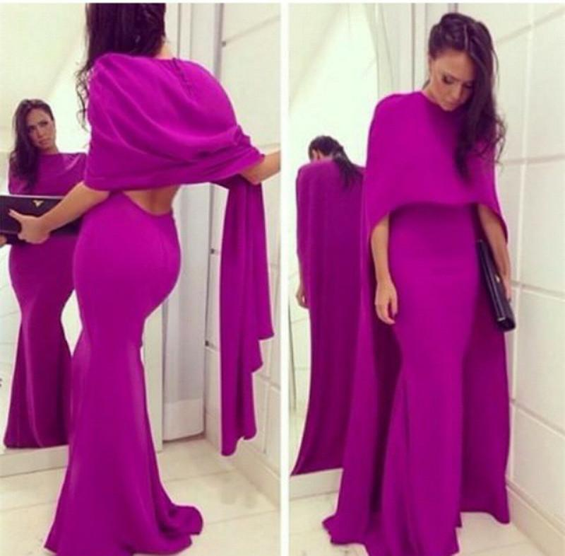 Elie Saab 2018 Collection Fuchsia Arabic Evening Dresses with Long Cape Wrap Mermaid Formal Prom Gowns Cheap Sexy Backless Party Dress