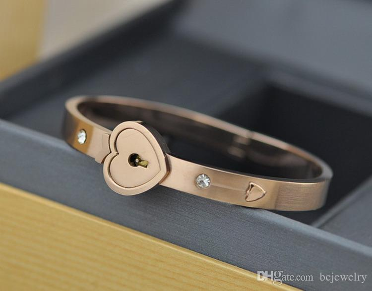 BC Jewelry 2015 Fashion Popular Men Women's Stainless Steel Heart Key + Lock Sets Lovers Couples Bracelet BC-0041