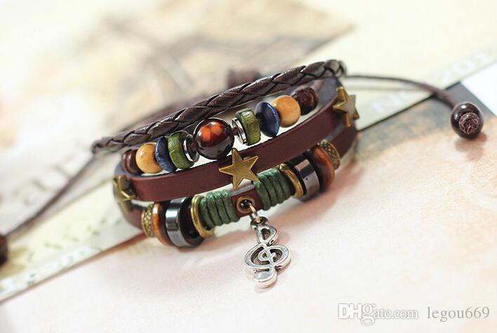 2014 vendita calda moda multistrato cinturino in pelle bracciali braccialetti vintage tre stelle nota musicale braccialetto pendente le donne uomini