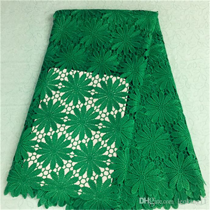 Charming green flower african water soluble lace embroidery french guipure lace fabric for party dress BW75-2,5yards/pc